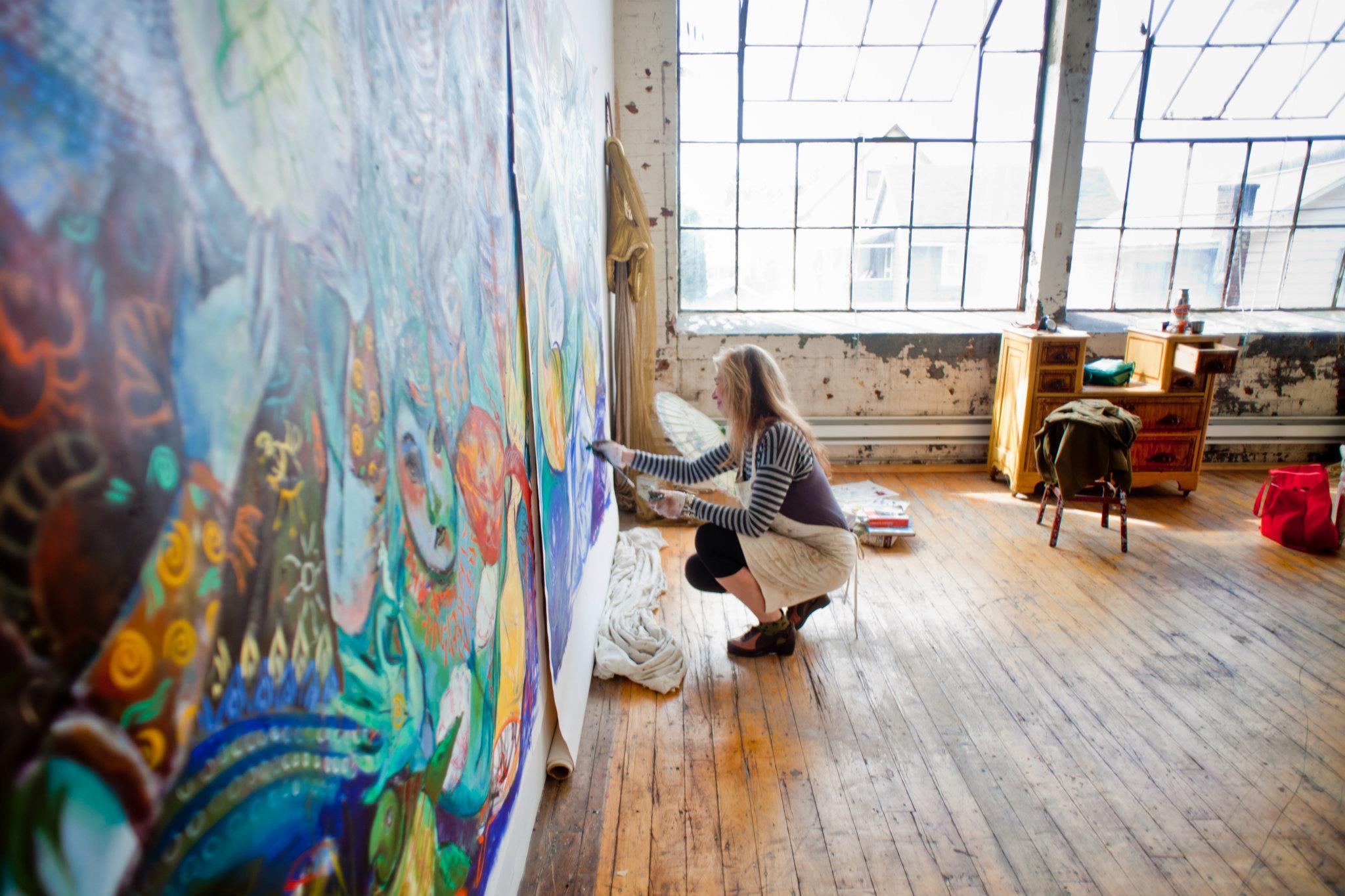 Joanne Landis in her studio