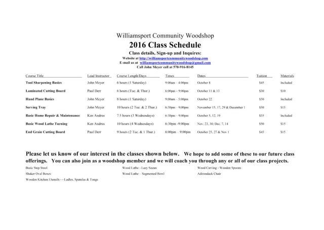 2016 Fall Woodshop Class Schedule