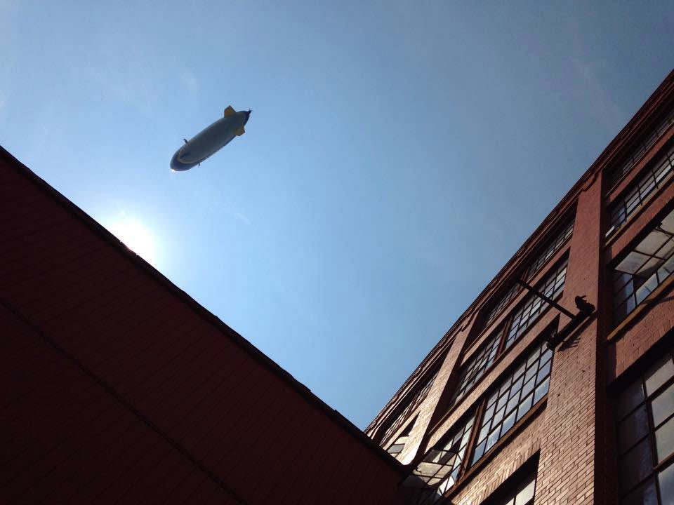Blimp over the Pajama Factory
